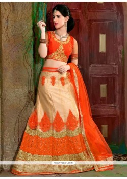 Adorable Net Beige A Line Lehenga Choli