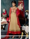 Competent Cream And Red Georgette Anarkali Suit