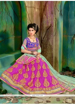 Heavenly Net Patch Border Work A Line Lehenga Choli