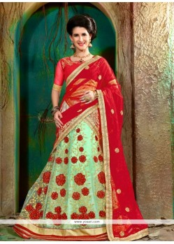 Delightful Net Sea Green A Line Lehenga Choli