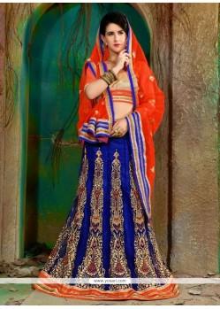 Elegant Blue Net A Line Lehenga Choli