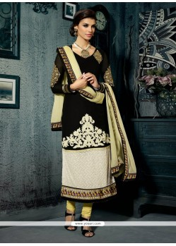 Breathtaking Black Resham Churidar Suit