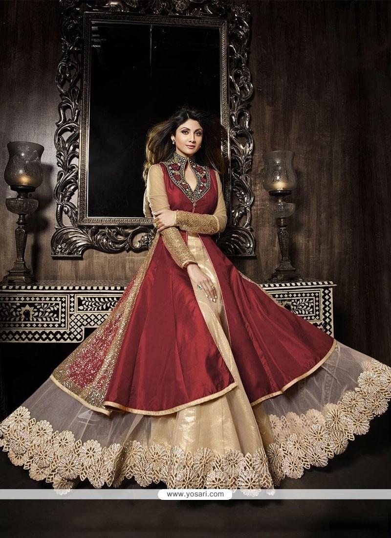 Shilpa Shetty Net Zari Work Red A Line Lehenga Choli