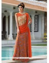 Cute Georgette Orange Designer Gown