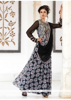 Enticing Zari Work Georgette Black Designer Gown