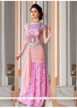 Voguish Pink Resham Work Designer Gown