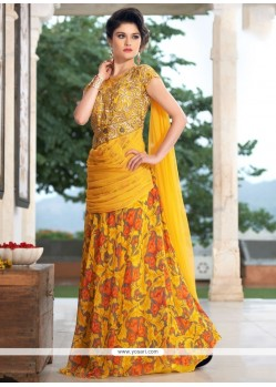 Georgette Yellow Embroidered Work Designer Gown