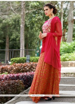 Exquisite Georgette Red Resham Work Designer Gown