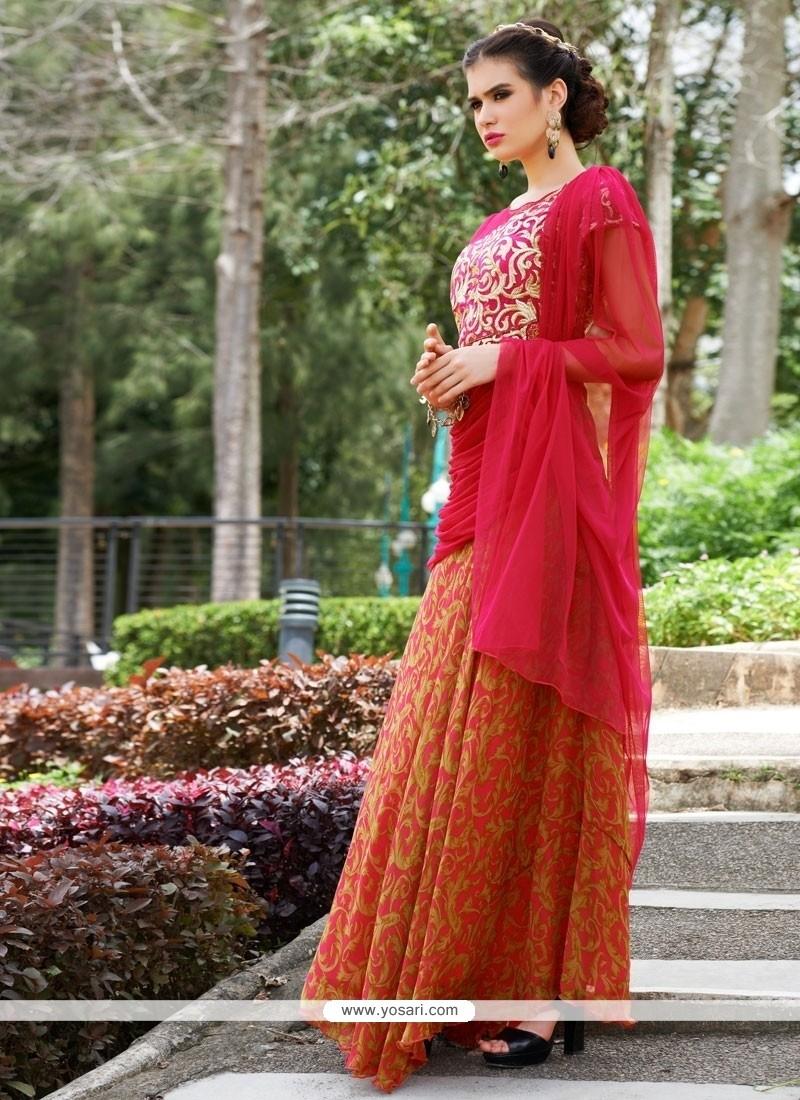 Exquisite Georgette Red Resham Work Designer Gown