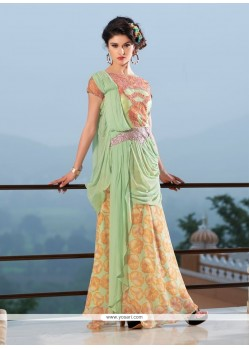 Dashing Georgette Sea Green Resham Work Designer Gown