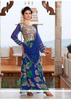 Riveting Georgette Blue Designer Gown