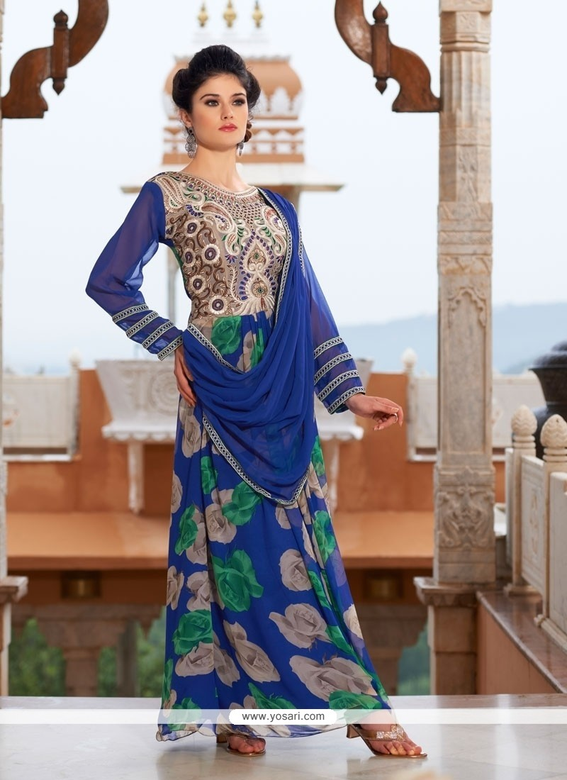 Riveting Georgette Blue Designer Gown