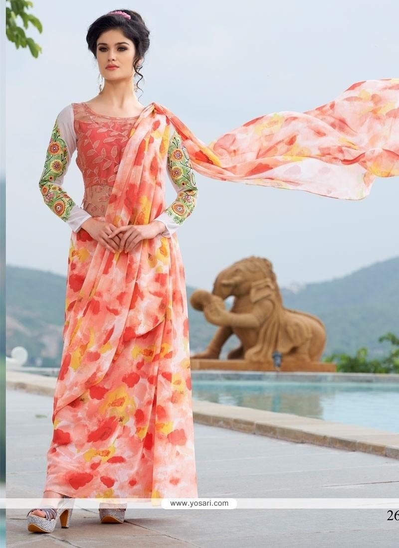 Mystical Georgette Embroidered Work Designer Gown