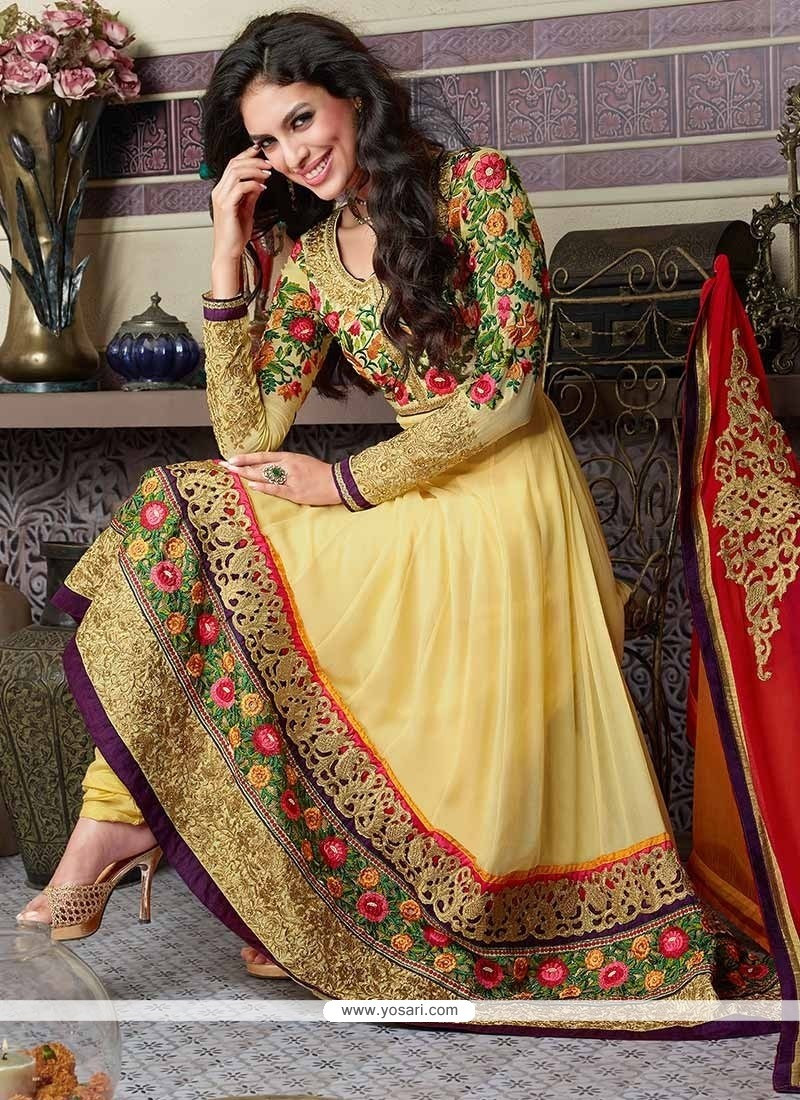 Yellow Resham Enhanced Ankle Length Anarkali Suit