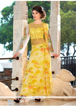 Yellow Georgette Embroidered Work Designer Gown