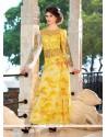 Yellow Georgette Embroidered Work Designer Gown