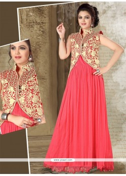 Refreshing Net Resham Work Hot Pink Designer Gown