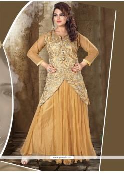 Beige Net Resham Work Designer Gown