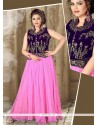 Mesmeric Resham Work Net Hot Pink Designer Gown