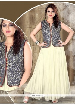 Net Off White Resham Work Designer Gown