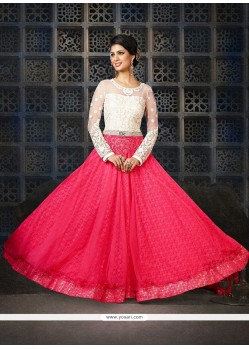 Off White And Pink Net Anarkali Suit