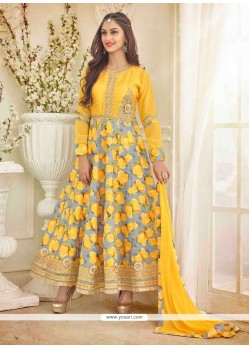 Amazing Patch Border Work Yellow Anarkali Salwar Kameez