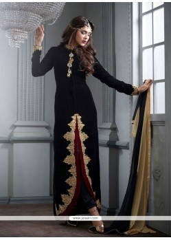 Beauteous Resham Work Black Velvet Designer Salwar Suit