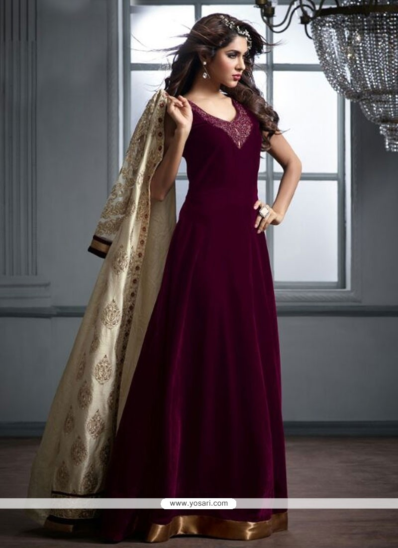 Luscious Velvet Anarkali Salwar Suit