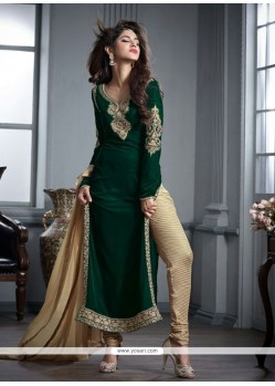 Desirable Embroidered Work Green Velvet Designer Straight Salwar Kameez