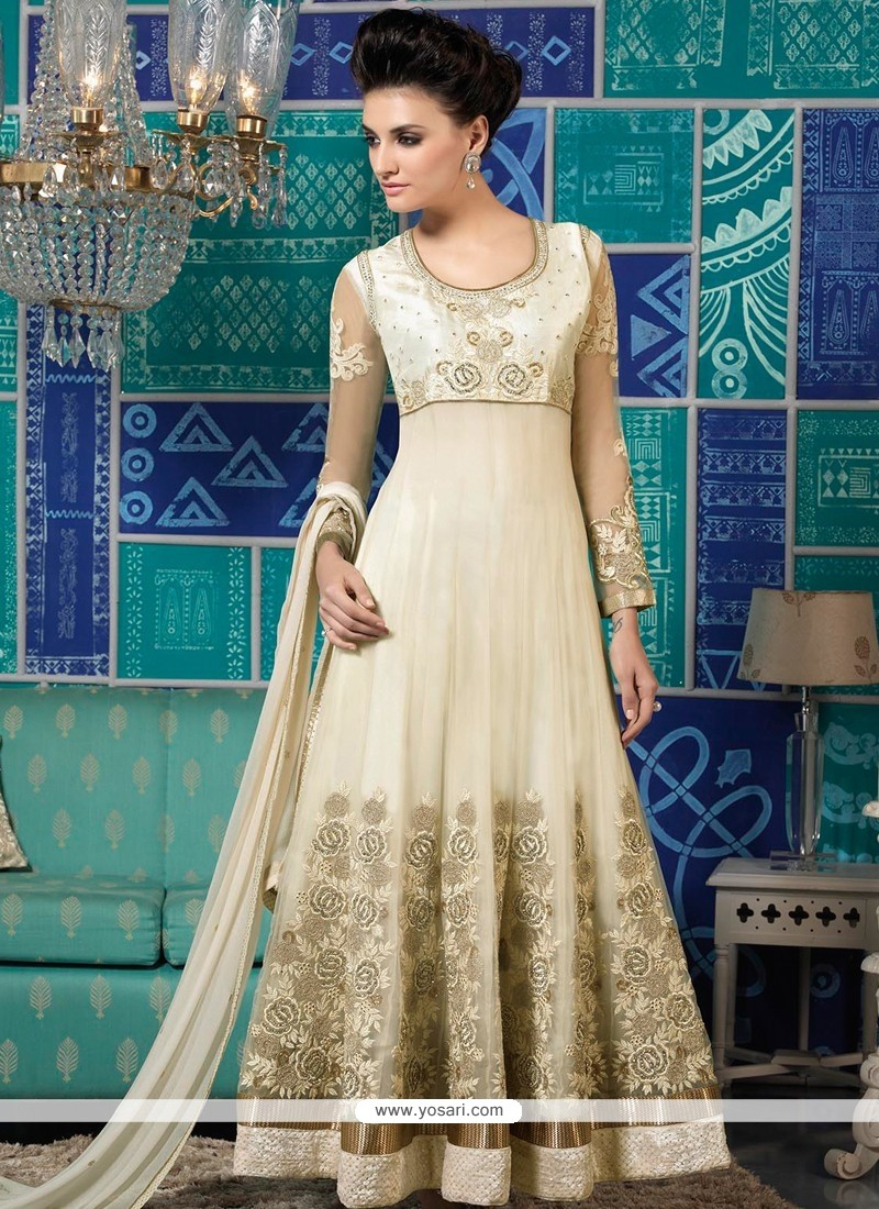Off White Net Anarkali Salwar Kameez