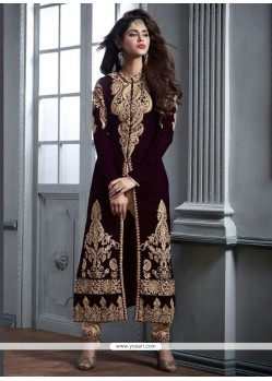 Orphic Brown Zari Work Designer Straight Salwar Kameez