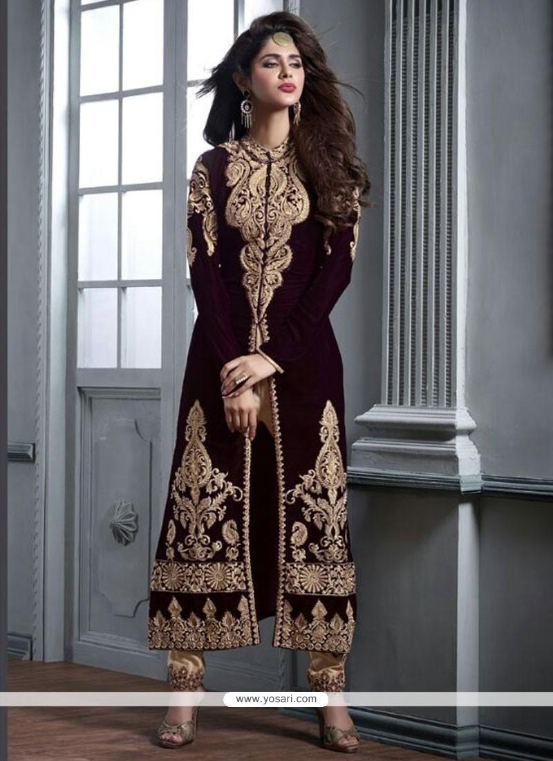 Orphic Brown Zari Work Designer Straight Salwar Kameez