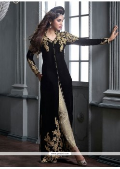 Enchanting Velvet Designer Straight Salwar Suit
