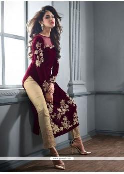 Glorious Lace Work Velvet Maroon Designer Straight Salwar Kameez