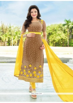 Entrancing Brown Embroidered Work Georgette Designer Straight Salwar Kameez