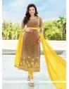 Entrancing Brown Embroidered Work Georgette Designer Straight Salwar Kameez