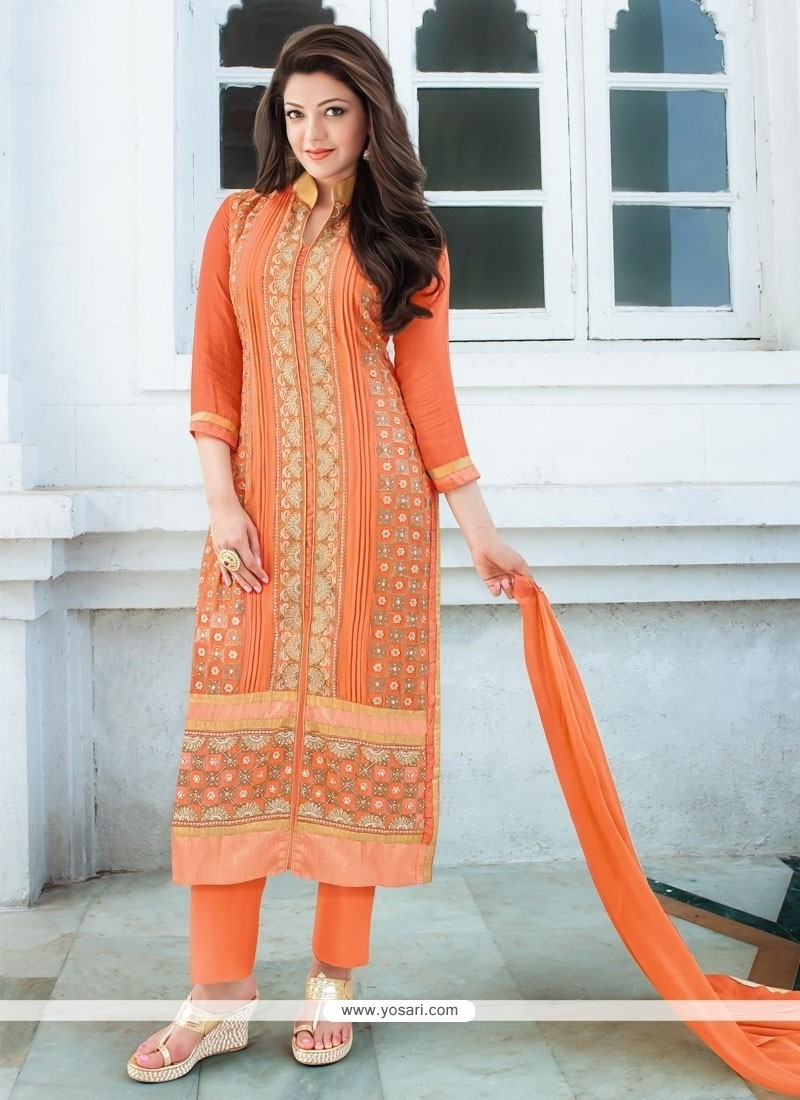Artistic Embroidered Work Georgette Orange Designer Straight Salwar Kameez