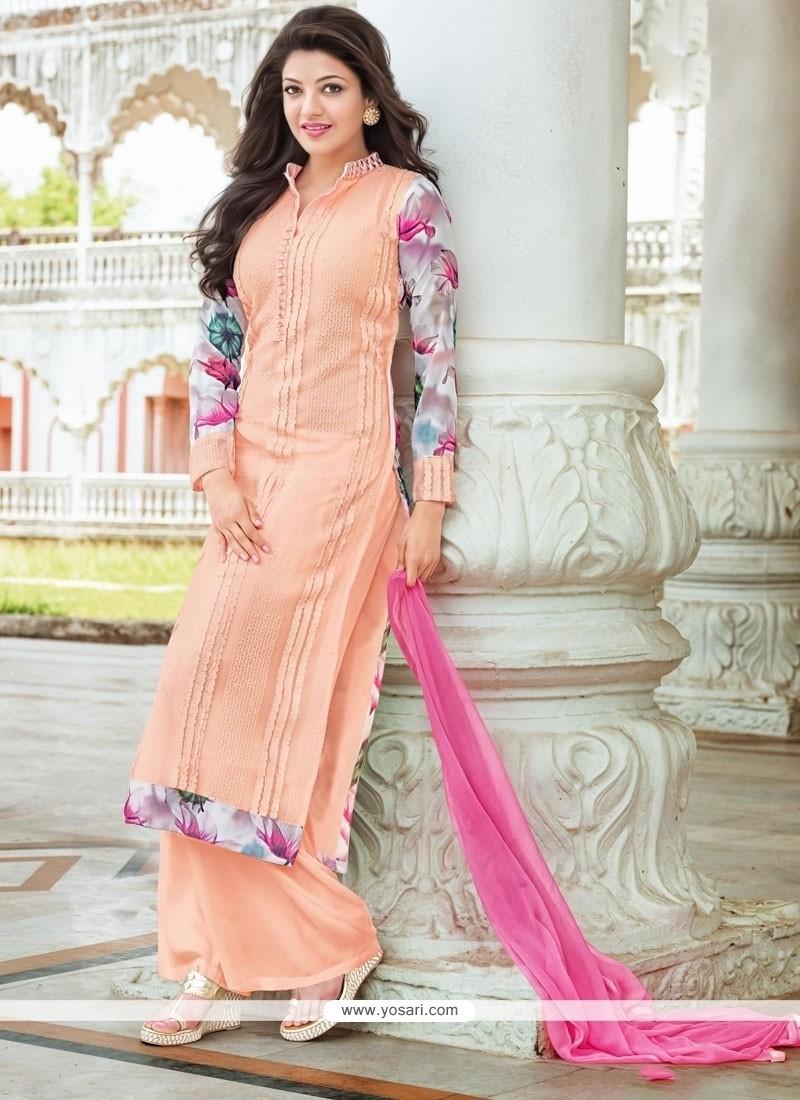 Subtle Georgette Peach Designer Palazzo Salwar Suit
