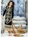 Flawless Black Velvet Churidar Salwar Kameez