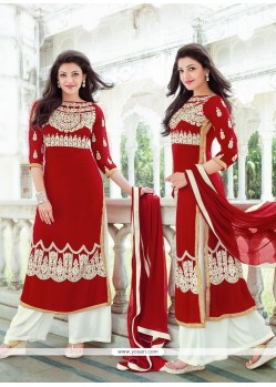 Talismanic Red Embroidered Work Designer Palazzo Suit