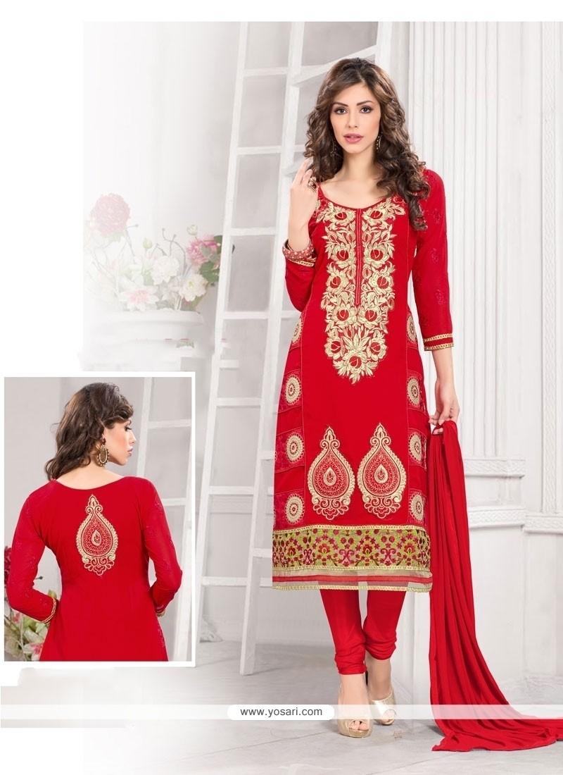 Aspiring Red Georgette Churidar Designer Suit