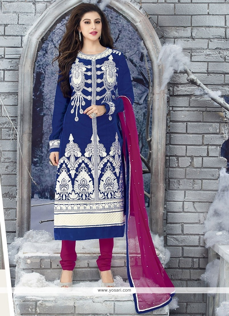 Eyeful Blue Embroidery Work Churidar Suit