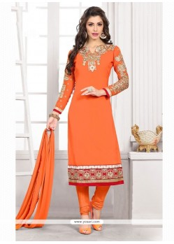 Engrossing Embroidered Work Orange Churidar Designer Suit