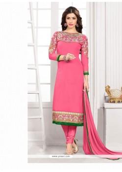 Titillating Pink Resham Work Georgette Churidar Designer Suit
