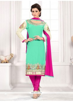Fashionable Embroidered Work Churidar Designer Suit