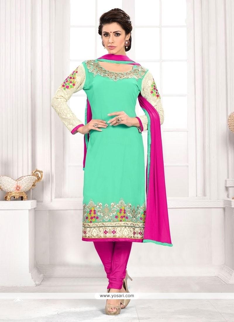 Fashionable Embroidered Work Churidar Designer Suit
