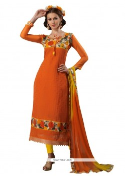 Orange Chanderi Churidar Designer Suit