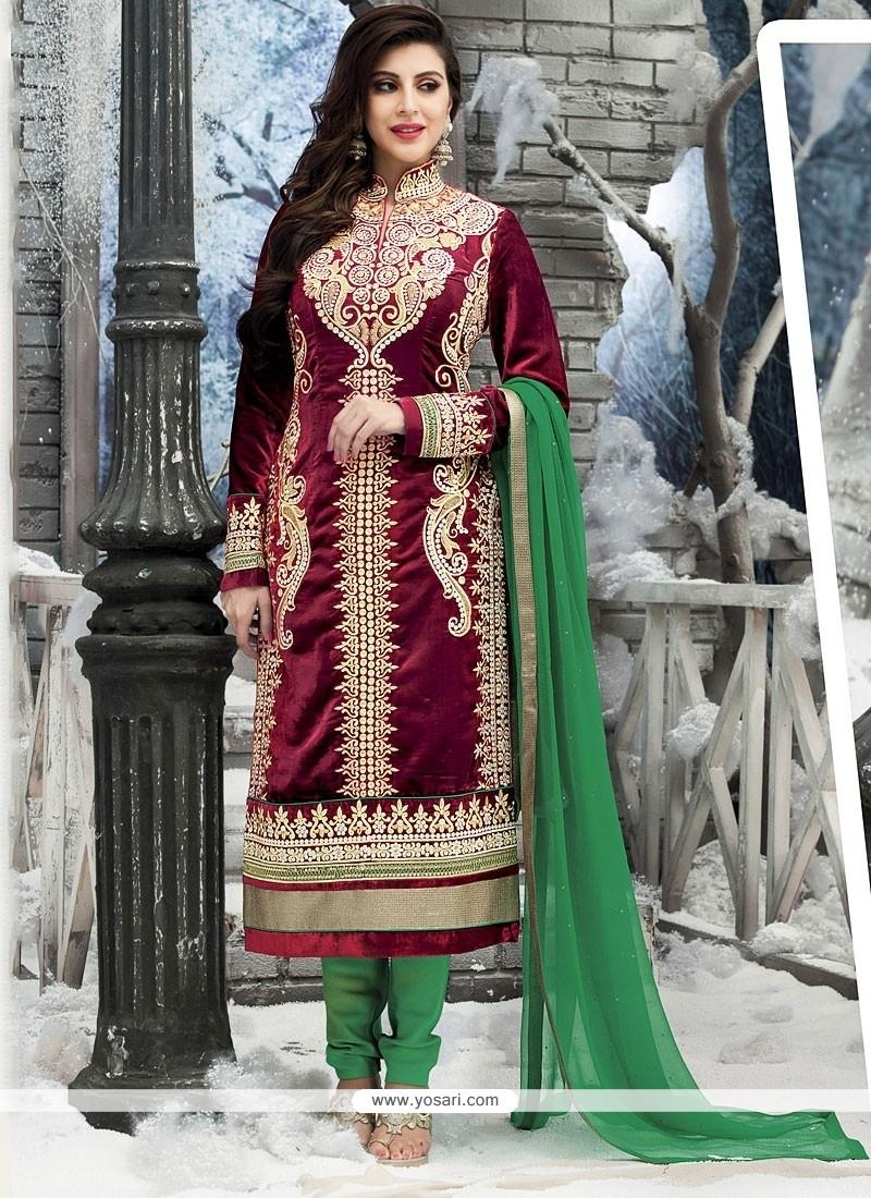 Maroon Velvet Churidar Salwar Kameez