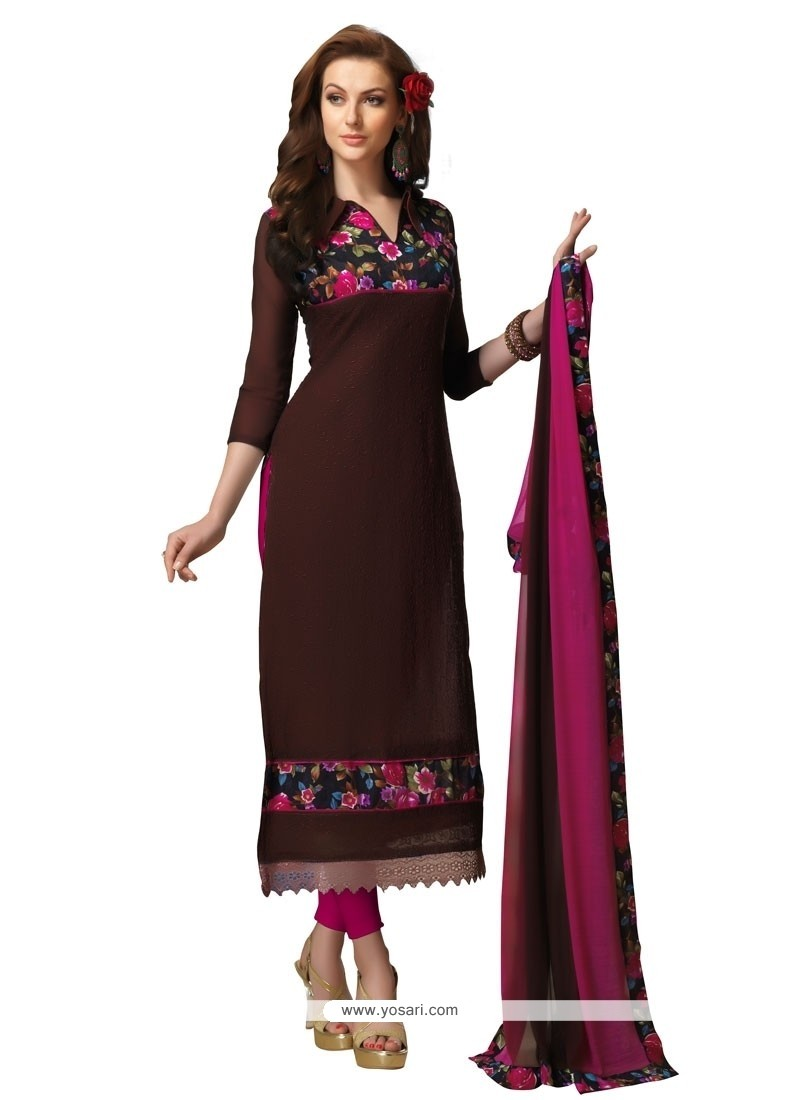 Energetic Embroidered Work Brown Chanderi Churidar Designer Suit