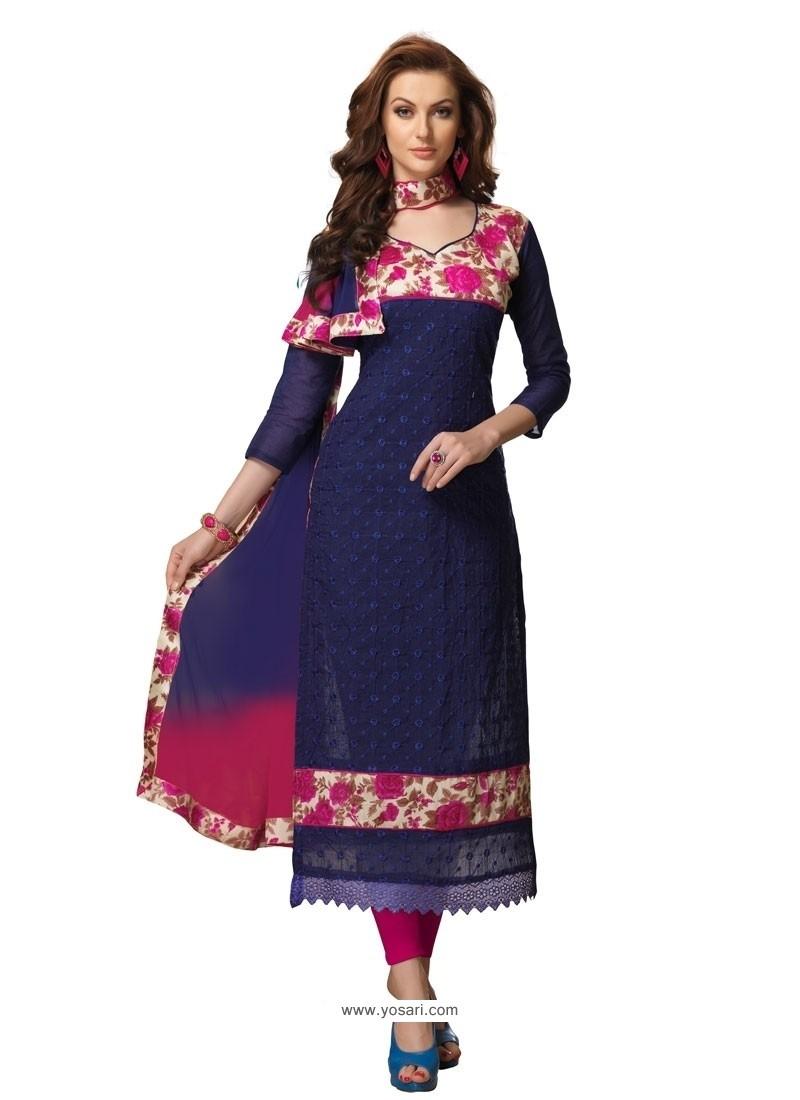 Delightsome Embroidered Work Chanderi Churidar Designer Suit